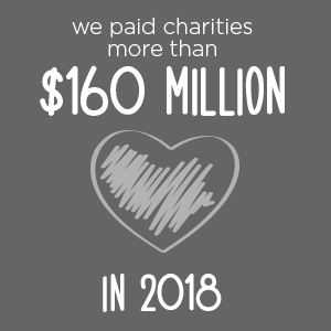 $160 million to charities in 2018